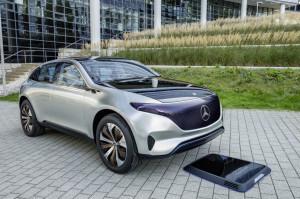 Generation EQ, Exterieur, induktive Ladeplattform ;  Generation EQ, exterior, inductive charging platform;